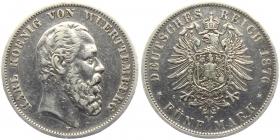 Württemberg - J 173 - 1876 F - König Karl (1864 - 1891) - 5 Mark - ss+