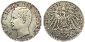 Bayern - J 46 - 1891 D - König Otto (1886 - 1913) - 5 Mark - ss-vz