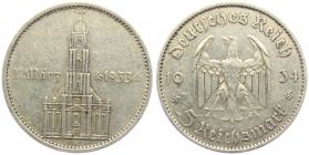 Drittes Reich - J 356 - 1934 A - Garnisonskirche in Potsdam - mit Datum - 5 Reichsmark - ss