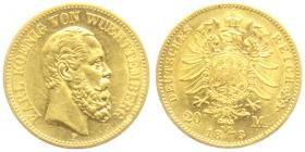 Württemberg - J 290 - 1873 F - Karl (1864 - 1891) - 20 Mark - vz+   AU 58 - in NGC-Slab