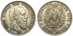 Württemberg - J 173 - 1876 F - König Karl (1864 - 1891) - 5 Mark - vz