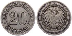 Kaiserreich - J 14 - 1892 D - 20 Pfennig - großer Adler - ss