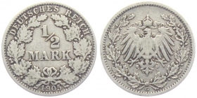 Kaiserreich - J 16 - 1905 G - 1/2 Mark - s-ss