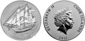 Cook-Inseln - 2021 - Segelschiff Bounty - 1 Dollar - st