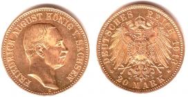 Sachsen - J 268 - 1913 E - Friedrich August III. (1904 - 1918) - 20 Mark - vz-st in NGC-Slab
