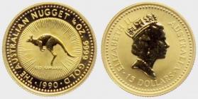 Australien - 1990 - Känguruh - Nugget - 15 Dollars - 1/10 Unze - st