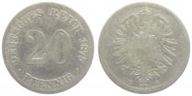 BRD - J 5 - 1875 G - 20 Pfennig - kleiner Adler - s-ss
