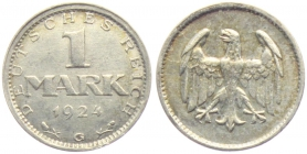 Weimarer Republik - J 311 - 1924 G - 1 Mark - ss