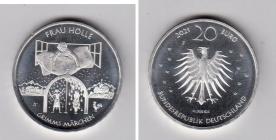 BRD - 2021 - Frau Holle - Grimms Märchen - 20 Euro - bankfrisch