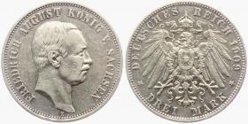 Sachsen - J 135 - 1909 E - Friedrich August III. (1904 - 1918) - 3 Mark - ss-vz