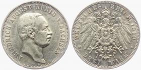 Sachsen - J 135 - 1910 E - Friedrich August III. (1904 - 1918) - 3 Mark - ss-vz