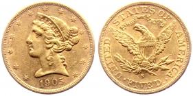 USA - 1905 S - Liberty - 5 Dollars - ss-vz