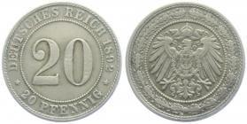 Kaiserreich - J 14 - 1892 J - 20 Pfennig - großer Adler - ss-vz
