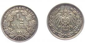 Kaiserreich - J 16 - 1918 A - 1/2 Mark - vz