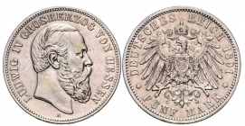 Hessen - J 71 - 1891 A - Ludwig IV. (1877 - 1892) - 5 Mark - f.vz