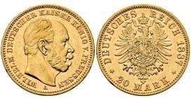 Preussen - J 246 - 1877 A - Kaiser Wilhelm I. (1871 - 1888) - 20 Mark - vz min. RF