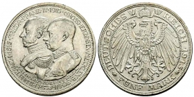Mecklenburg-Schwerin - J 89 - 1915 - Friedrich Franz IV. (1897-1918) - mit Friedrich Franz I. zur Jahrhundertfeier - 5 Mark - vz-st min. RF