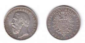 Baden - J 29 F - 1876 G - Friedrich I. (1852 - 1907) - 5 Mark - ss