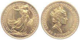 Großbritannien - 1987 - Britannia - 25 Pounds - 1/4 Unze - unc.