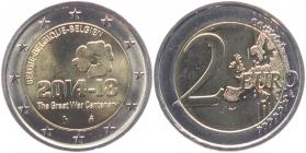 Belgien - 2014 - 100. Jahrestag des Ausbruchs des 1. Weltkrieges - 2 Euro - bfr