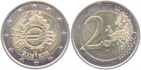 Belgien - 2012 - 10 Jahre Euro Bargeld - 2 Euro - bfr