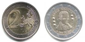 Belgien - 2009 - Louis Braille - 2 Euro - bfr