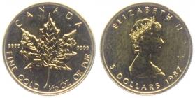 Kanada - 1987 - Maple Leaf - 1/10 Unze - 5 Dollars - st