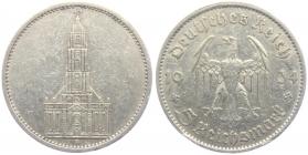 Drittes Reich - J 357 - 1934 A - Garnisonskirche in Potsdam - ohne Datum -  5 Reichsmark - ss+