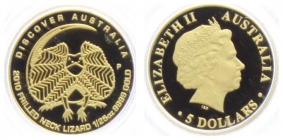 Australien - 2010 - Kragenechse - 5 Dollar - 1/25 Unze - PP