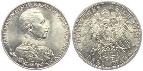 Preussen - J 112 - 1913 A - Wilhelm II. (1888 - 1918) - Büste in Uniform mit Regierungsdaten - 3 Mark - f.st