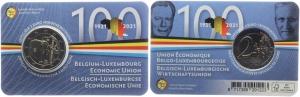 Belgien - 2021 - 100 Jahre Wirtschaftsunion - 2 Euro auf Coincard - bfr - franz.