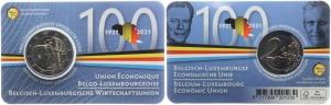 Belgien - 2021 - 100 Jahre Wirtschaftsunion - 2 Euro auf Coincard - bfr - fläm.