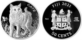 Fiji - 2021 - Katze - 50 Cents - 1 Unze - PP