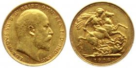 Australien - 1908 S - Edward VII. (1901 - 1910) - 1 Sovereign - f.vz
