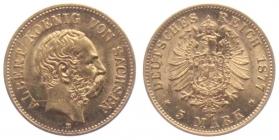Sachsen - J 260 - 1877 E - Albert (1873 - 1902) -  5 Mark vz-st / MS 62 - in NGC-Slab