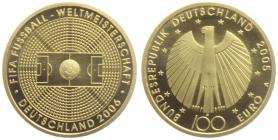 Deutschland - 2005 J - Fussball WM 2006 in Deutschland - 100 Euro - 1/2 Unze - st