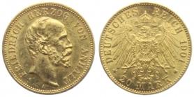 Anhalt - J 181 - 1901 A  - Friedrich (1871 - 1904) -  20 Mark - ss-vz