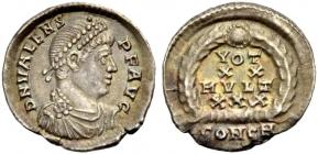 Römische Kaiserzeit - Valens (364 - 378) - Siliqua - f.vz -  Ch XF - in Slab MS
