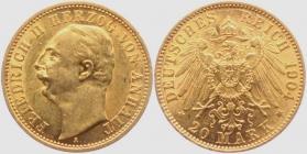 Anhalt - J 182 - 1904 A  - Friedrich II. (1904 - 1918) - 20 Mark - vz-vz+