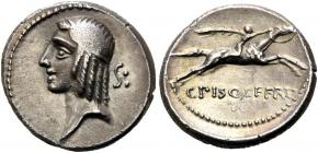 Römische Republik - 67 . Chr. -  C.Calpurnius Piso Frugi - Denar - vz - AU in Slab