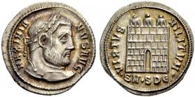 Römische Kaiserzeit - Galerius Maximianus (305 - 311) - Argenteus - vz-st -  in Slab MS