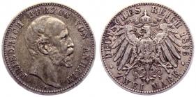 Anhalt - J 20 - 1896 A - Friedrich I. (1871 - 1904) - 2 Mark - ss-vz