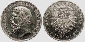 Baden - J 27F - 1875 G - Friedrich I. (1852 - 1907) - 5 Mark - ss-vz Kr.