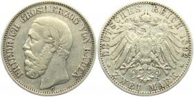 Baden - J 28 - 1892 G - Friedrich I. (1852 - 1907) - 2 Mark - ss