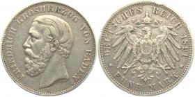 Baden - J 29 - 1891 G - Friedrich I. (1852 - 1907) - 5 Mark - ss+