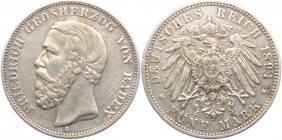 Baden - J 29 - 1894 G - Friedrich I. (1852 - 1907) - 5 Mark - ss+