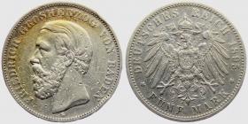 Baden - J 29 - 1895 G - Friedrich I. (1852 - 1907) - 5 Mark - s
