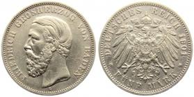 Baden - J 29 - 1901 G - Friedrich I. (1852 - 1907) - 5 Mark - ss-vz