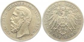 Baden - J 29 - 1902 G - Friedrich I. (1852 - 1907) - 5 Mark - f.vz