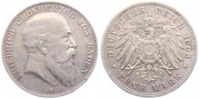 Baden - J 33 - 1903 G - Friedrich I. (1852 - 1907) - 5 Mark - ss